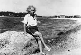 Photo of Albert Einstein on the Beach, 1945