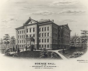 Opened in 1877 on the same spot where the current Science Hall now stands, the Old Science Hall included laboratories, lecture halls, department offices, and museum space.     The building caught fire in 1884 and was completely gutted.