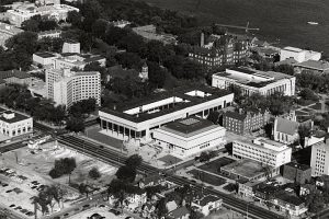 An aerial view of the completed George L. Mosse Humanities Building in 1970.