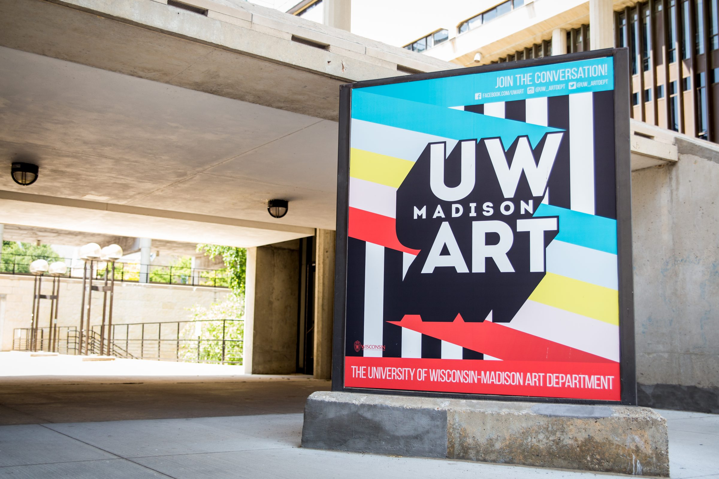 Humanities Building Exterior featuring the UW Art kiosk.
