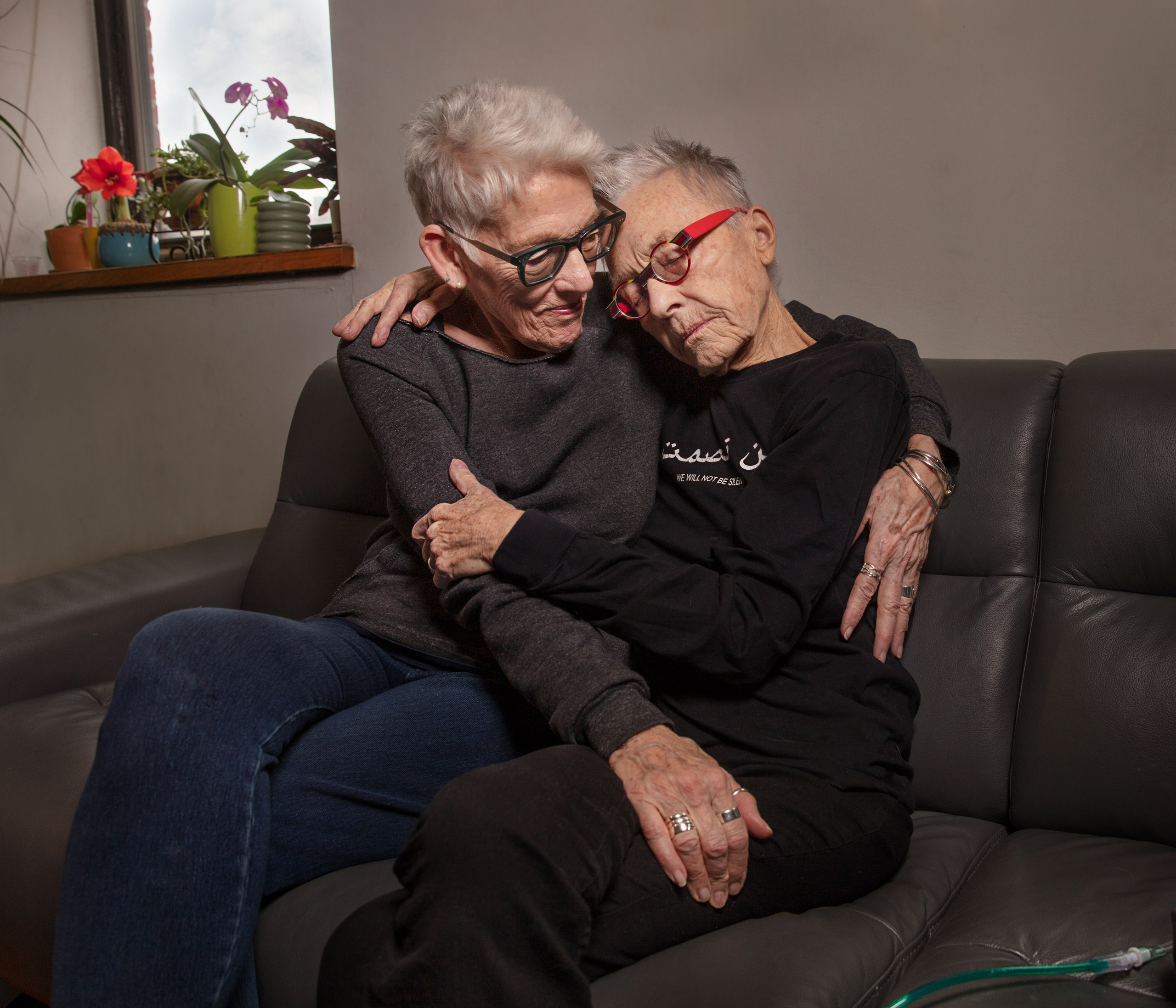 Photo of Barbara Hammer and her spouse Florrie Burke